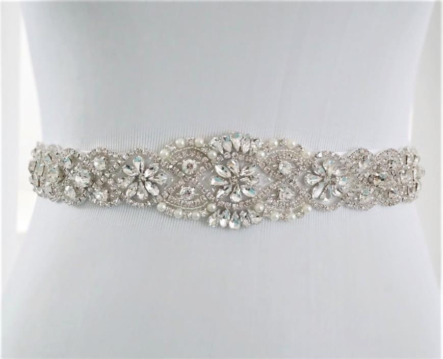 Wedding Bridal Sash Belt, Crystal Wedding Dress Sash Belt = 17 INCH LONG