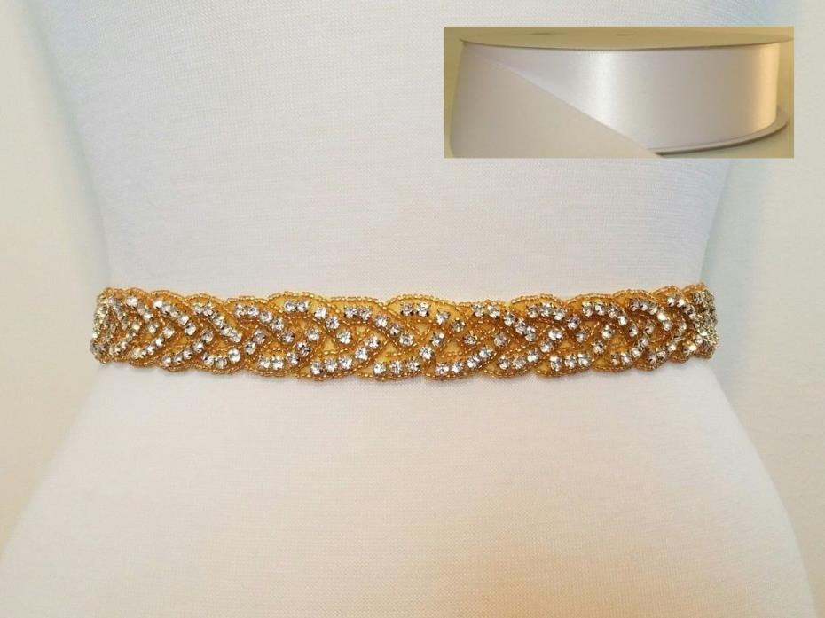 Wedding Bridal Sash Belt, GOLD CLEAR RHINESTONE Sash Belt = WHITE SATIN SASH