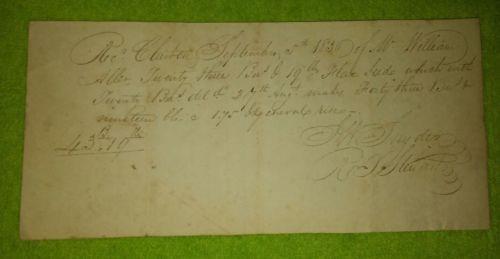1830 Flaxseed Receipt