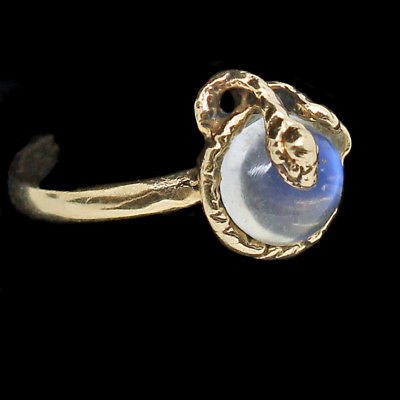 Antique Ring 14k Gold Snake coiled around Moonstone  (#6344)