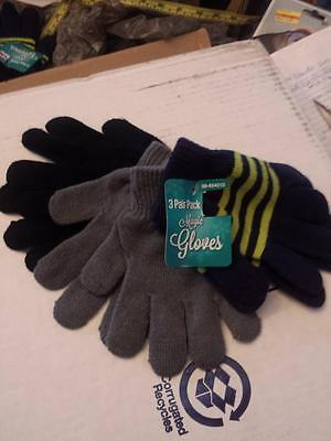 Kid's Knit Gloves (3 pairs / pack)   One Size NWT