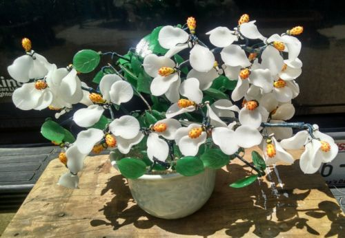 Vintage Murano Slag Glass Flowers White Magnolia Blossoms Green Pottery Vase