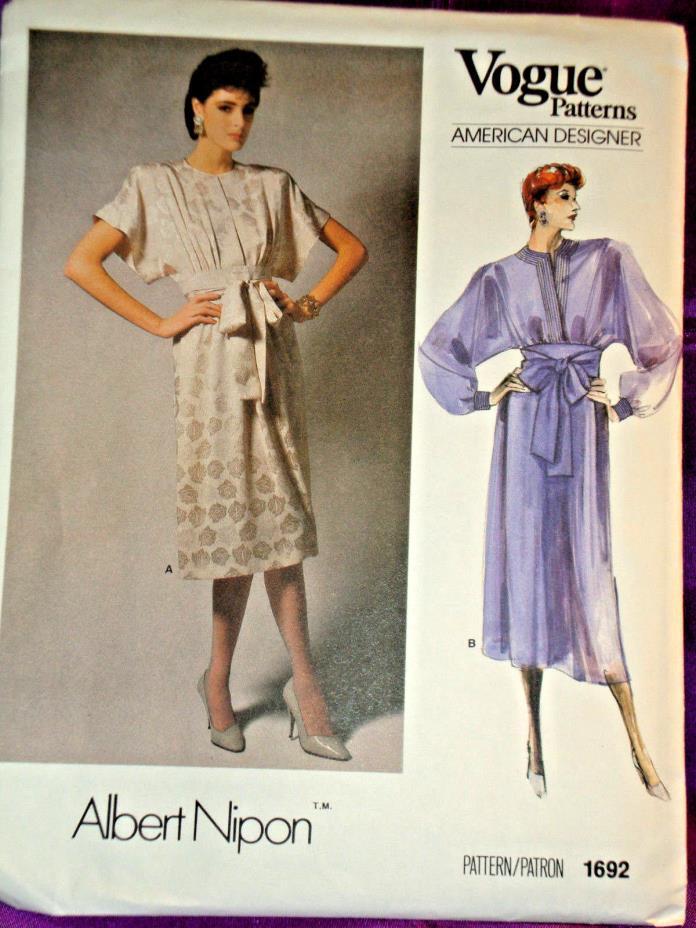 80s Vtg ALBERT NIPON Pullover Dress Shrt or Lng Slv 2 Vws FF Vogue 1692 Bst 32.5