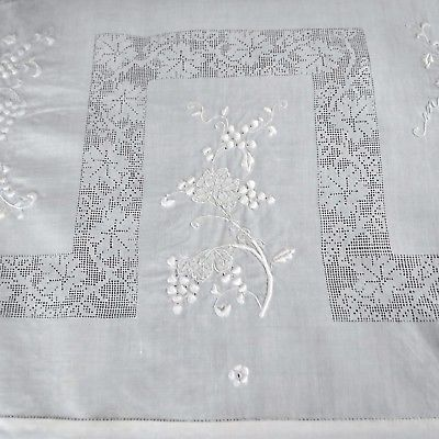 Antique Tablecloth White Embroidered Floral Berries Linen Cloth 42