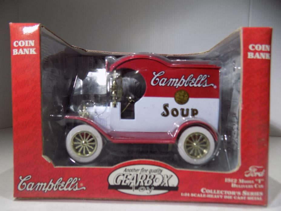 GEAR BOX 1912 MODEL T VAN CAMPBELL'S SOUP FROM 1997 Die Cast Metal COIN BANK
