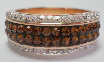 Sterling Silver 925 Rose Gold Sparking Clear & Cognac Cz's Ring 5 G Sz 8.25 New