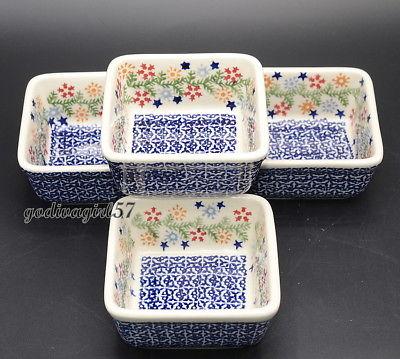 Polish Pottery * 4 SMALL SQUARE DISHES * 4