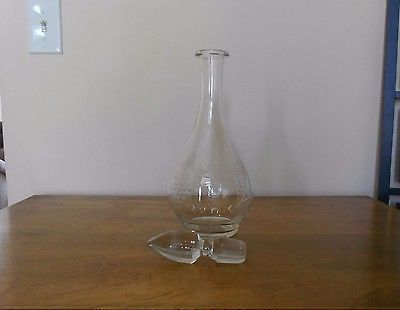Vintage Cut Crystal Decanter Pitcher w/Stopper 11 1/4