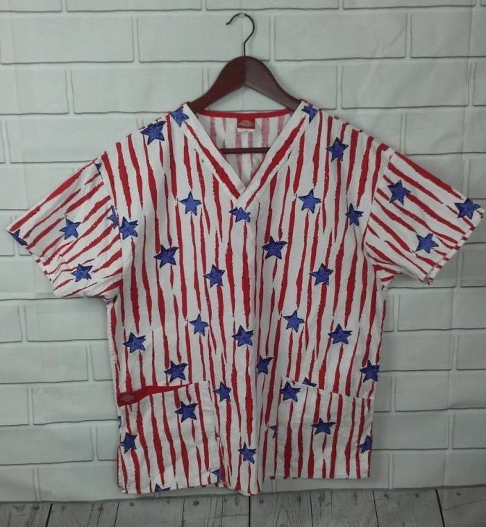 Dickies Womens Sz M Blue Red White Stars & Stripes Short Sleeve Scrub Top