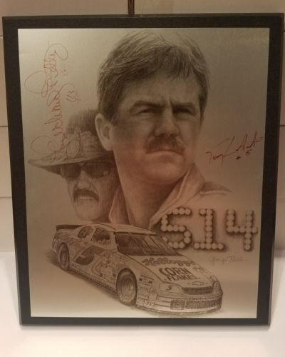 Signed Richard Petty & Terry Labonte Plaque Nascar Collector Autograph