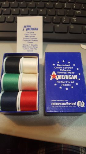 American Thread - 6 Count Spool Box - Cotton Covered Poly Thread - Vintage?
