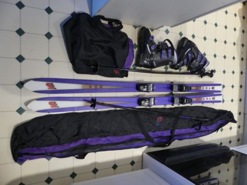 K2 Womens Skis, Purple Nordica Boots 26.5 Size 9 with Poles and Bags