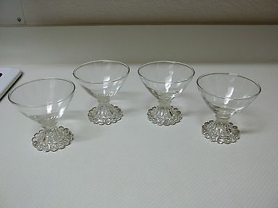 Nice Clear Glass Sherbet Bowls ~ Set of 4 ~ Ice Cream Bowls