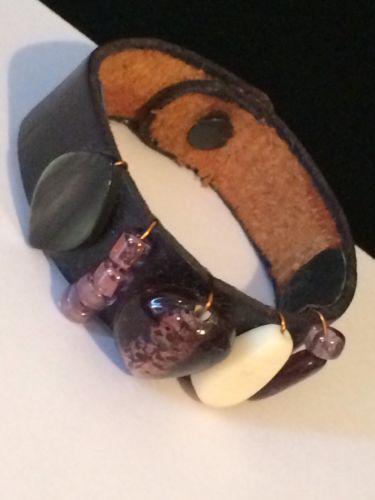 VTG Black Leather W Purple Art Glass, Abalone & Bead Accent Bracelet #V1