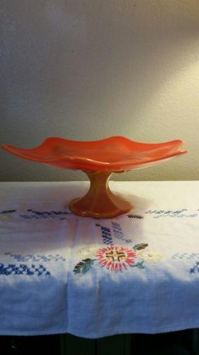 Orange Slag Glass Footed Tray
