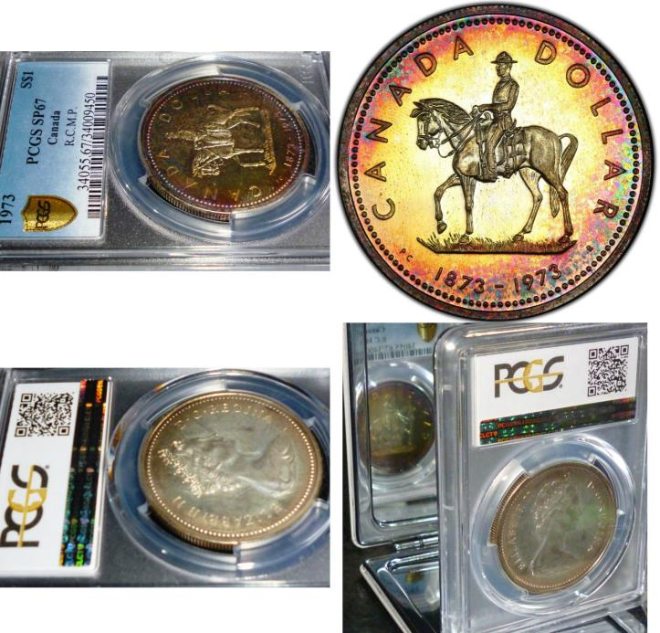 Rainbow Toned Silver Coin-1973 CANADA MOUNTED HORSE DOLLAR -PCGS SP67