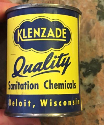 "1950's Tin Klenzade Sanitation Chemical Advertising Savings Bank 2.875"" Tall"