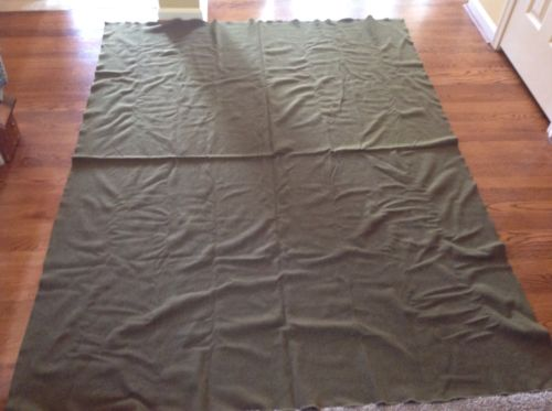 Original Vintage Korean War US Army Olive Green Wool Blanket