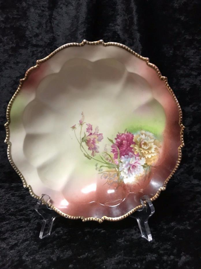 Antique Porcelain Serving Bowl With Gold Leafing, Shading and Floral Pattern