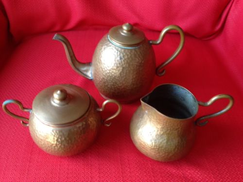 Vintage hammered copper tea set from Chili