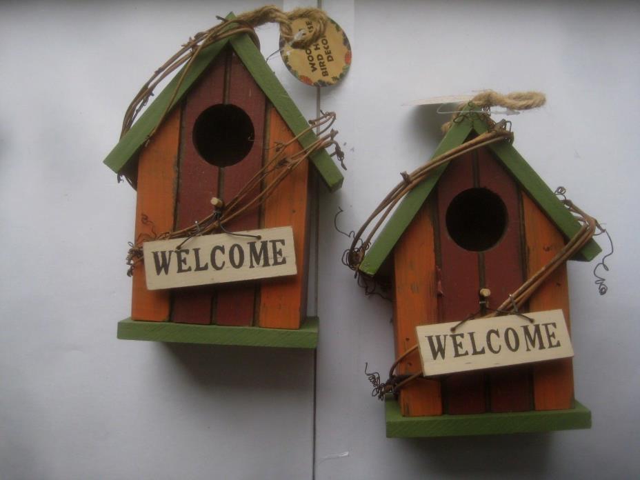 NEW! 02 Decorative Birdhouses Garden Decor New! Multi Colored Bundle FREE SHIPPN