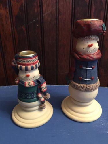 WINTER SNOWMAN Antique Primitive Taper Candelabra Holder Candle Stick SET of 2 #