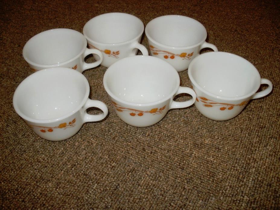 6 VINTAGE PYREX/CORNING WHEAT AUTUMN HARVEST MILK GLASS COFFEE CUPS/MUGS. MINT