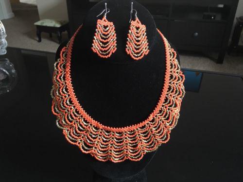 Handmade Guatemalan Beaded Necklace Earrings Set
