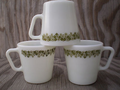 Pyrex Corelle Spring Blossom Green Flowers Milk Glass Cups Mugs 3 Count