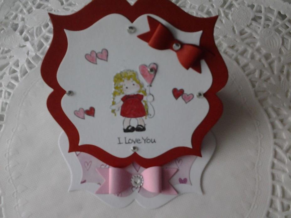 Valentine easel card w/Tiny Tilda