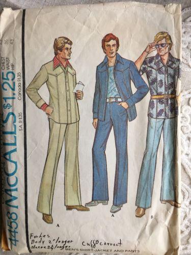 Vintage McCall's Carefree Patterns Shirt Men's Sewing Pattern Sz 42/36/43 #4458