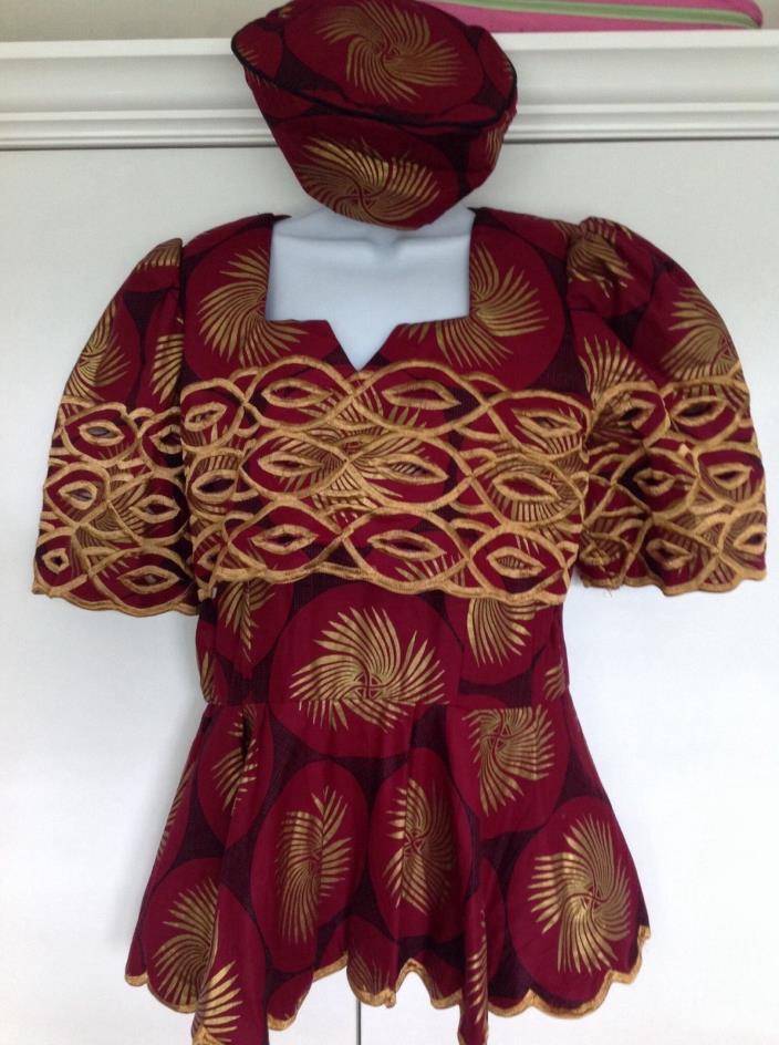 Beautiful African Dress Peplum Top Ghana Blouse Gold Maroon Red Hat Women's 14