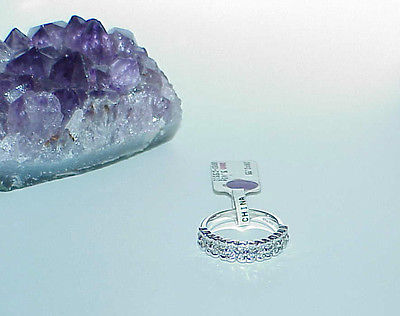 18K .55Ct Diamond Flower Cluster Band Ring White Gold Size 6.5 New w/ Tag Wide