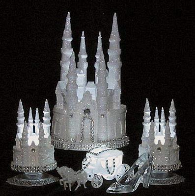 5 PIECE SET LIGHTED GLITTERED CINDERELLA CASTLE WEDDING CAKE TOPPER
