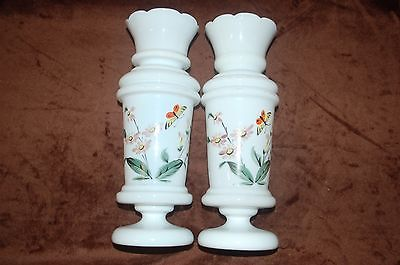 Antique Bristol White Pair Mantle Luster Vases - Hand Painted!! Hand Blown!
