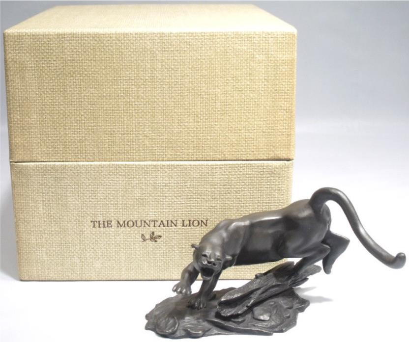 1975 FRANKLIN MINT MOUNTAIN LION WILDLIFE OF NORTH AMERICA PEWTER SCULPTURE +BOX