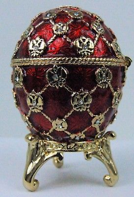 Russian Faberge Replica Red Cross Hatch with Birds E06-10-05