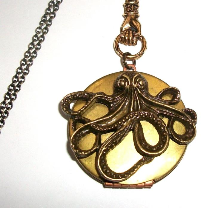 Steampunk OCTOPUS Kraken Cthulhu VINTAGE Halloween LOCKET NECKLACE