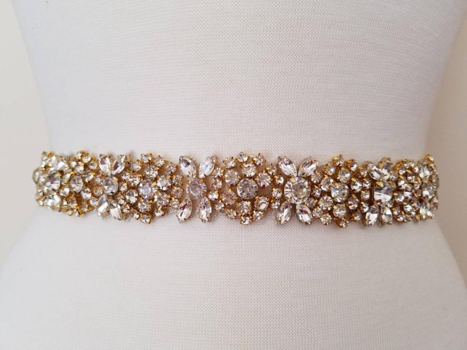 Wedding Bridal Sash Belt, GOLD CRYSTAL Wedding Dress Sash Belt = 19 inch long