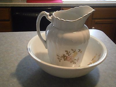 Johnson Bros. Royal Ironstone China England Matching Vintage Pitcher & Bowl Set