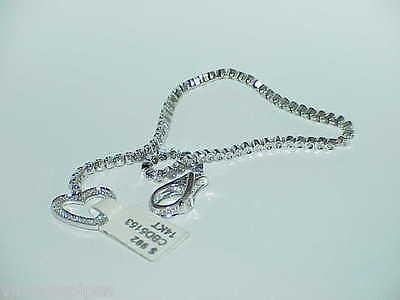 14k Open Heart .50ct Diamond Bracelet White Gold 7