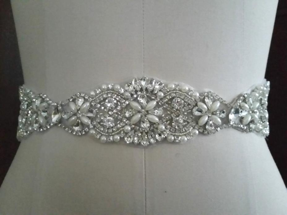 Wedding Bridal Sash Belt, Crystal Pearl Wedding Dress Sash Belt = 15 INCH LONG