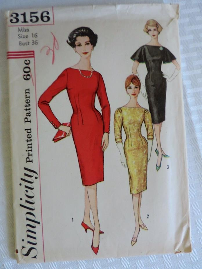 3156 SIMPLICITY c.1959 Wiggle Sheath DRESS w Sleeve Variations Size 16 - Uncut