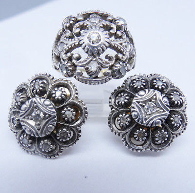 Antique Ring Earrings Set Diamonds Gold Silver Portuguese (#5844)
