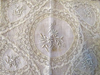 Normandy Lace Handkerchief Holder Antique French Doily Embroidered Whitework