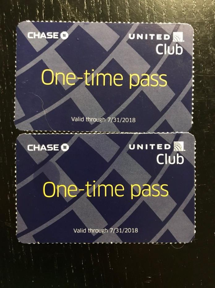 Two (2) United Club One-Time Passes Exp: 7/31/2018