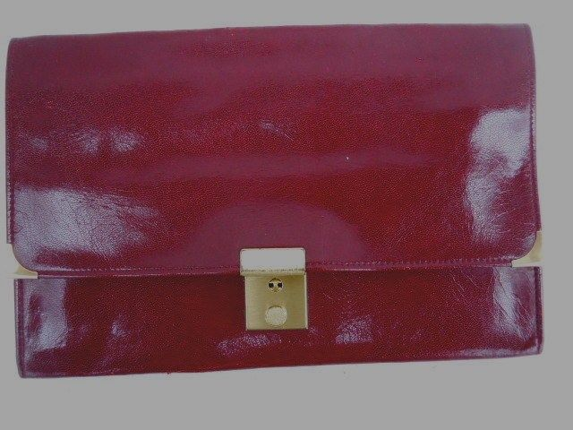 Perskin Made in England Burgundy Leather Secure Passport, Ticket, etc. Holder