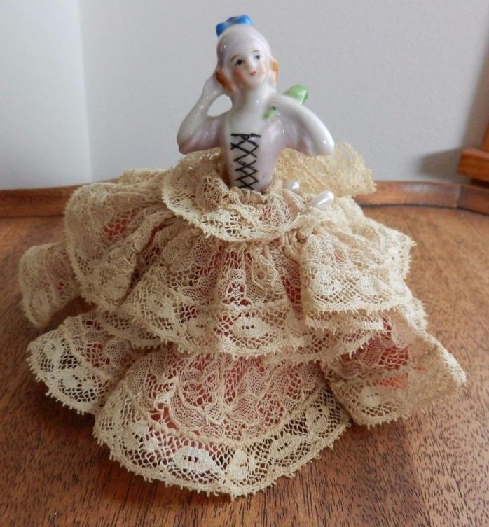 Very pretty half doll china pincushion made in Japan