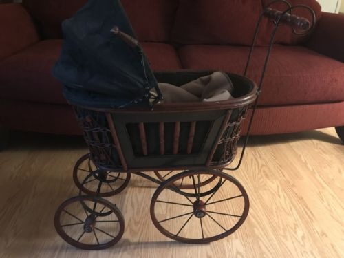 Antique Wicker Baby Doll Stroller/With Porcelain Doll