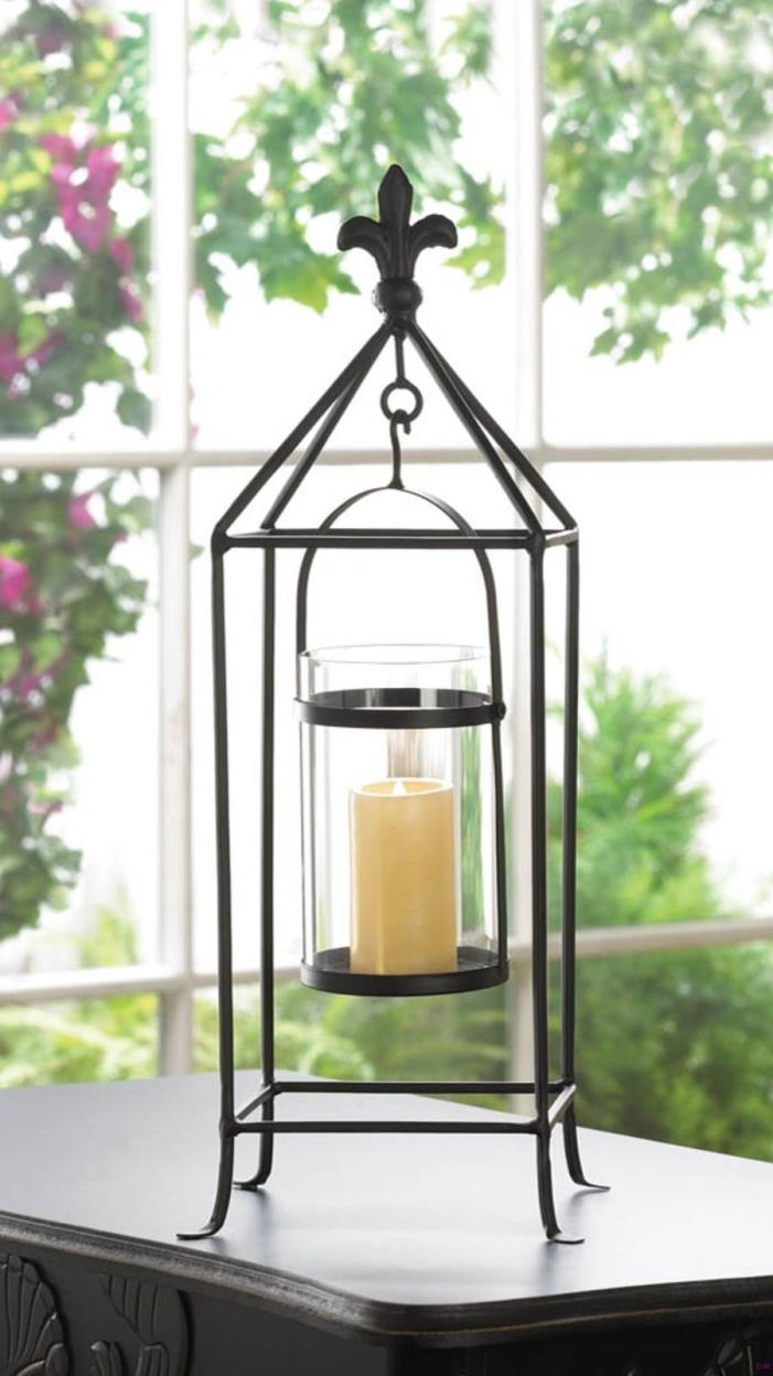 Lot of 8 Black Metal Fluer-De-Lis Candle Holder Stand w/ Pillar Glass Candle Cup